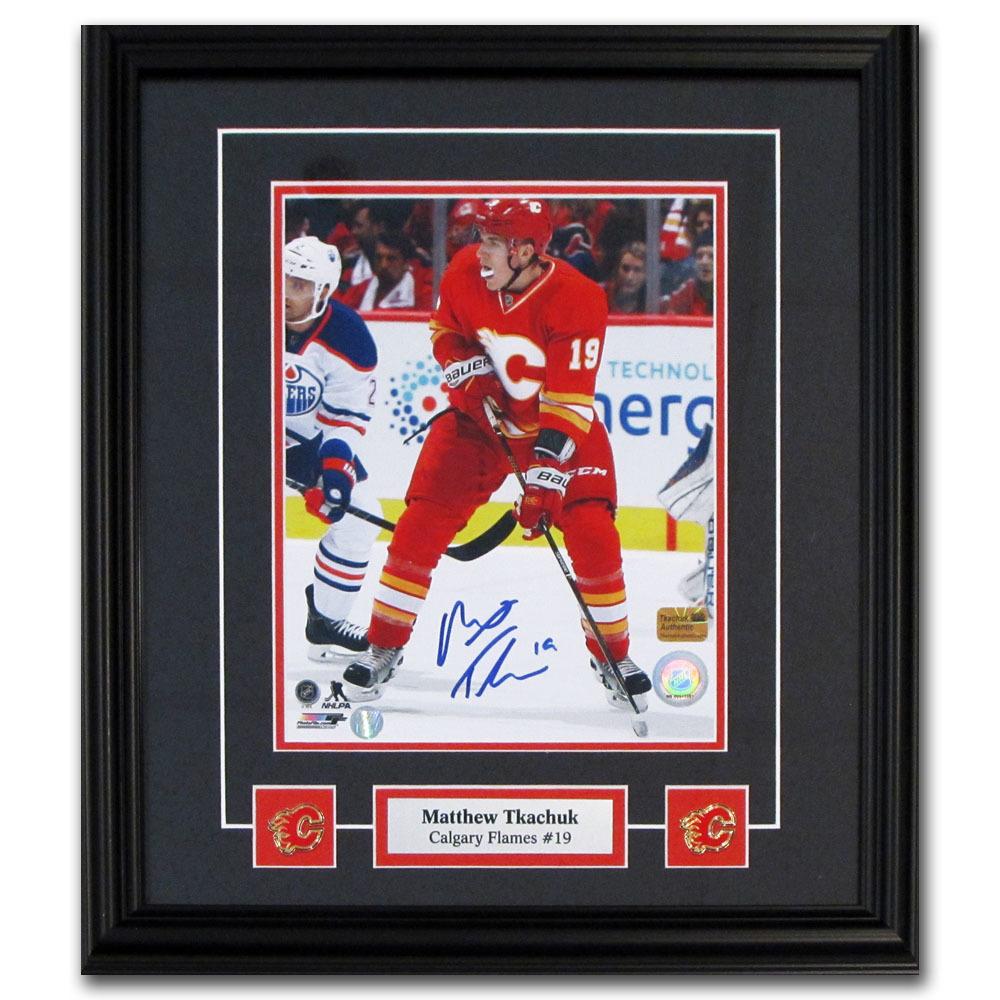 Matthew Tkachuk Autographed Calgary Flames Framed 8X10 Photo