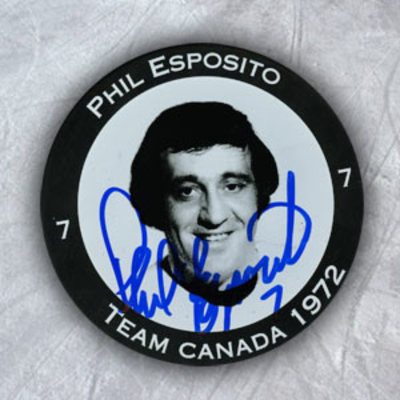 PHIL ESPOSITO Autographed 1972 Team Canada Summt Series Player Puck