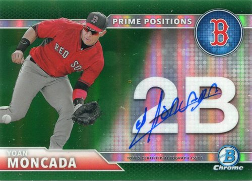 Photo of 2016 Bowman Chrome Prime Position Autographs Green Refractors #PPAYM Yoan Moncada 18/99