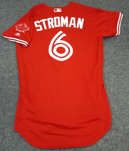 Photo of Authenticated Game Used Jersey - #6 Marcus Stroman (April 16 and July 1, 2017). Size 42.