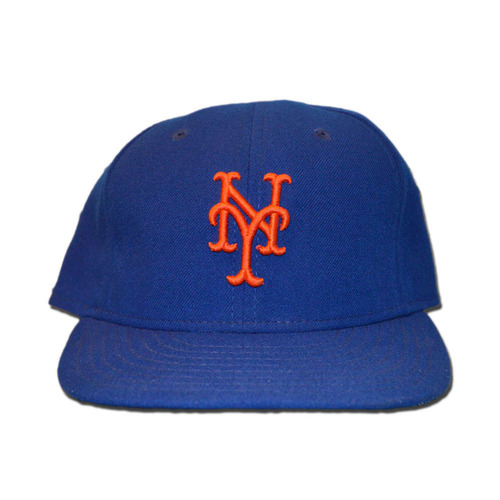Photo of Logan Verrett #35 - Game Used Blue Home Hat - 1.0 Innings, 2K's - Final Regular Season Game of 2015 - Mets Earn 90th Regular Season Win - Mets vs. Nationals - 10/4/15