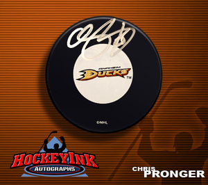 CHRIS PRONGER Signed Anaheim Ducks Puck