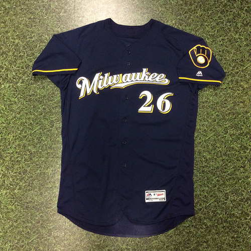 Photo of Taylor Jungmann 2016 Game-Used Navy Alternate Jersey