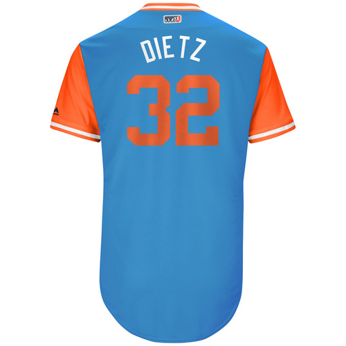 "Photo of Derek ""Dietz"" Dietrich Miami Marlins Game-Used Players Weekend Jersey"