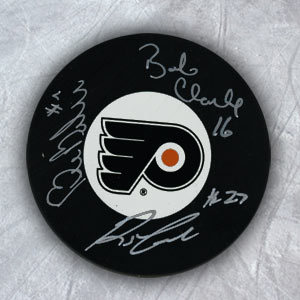 Bobby Clarke Bill Barber & Reggie Leach Signed Philadelphia Flyers LCB Line Puck