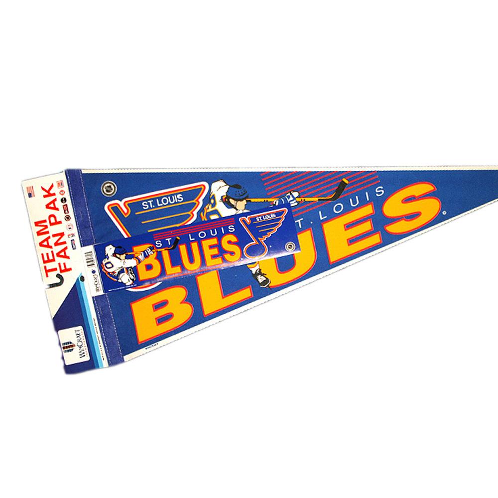 Vintage NHL Official ST. LOUIS BLUES Fan Pack - Pennant, Bumper Sticker & Badge - NOS