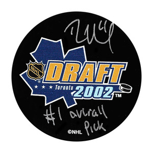 Rick Nash Autographed 2002 NHL Entry Draft Puck w/#1 OVERALL PICK Inscription (New York Rangers)