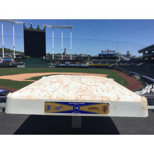 Photo of Game-Used 2nd Base: April 18, 2017 (SF at KC) (Merrifield Home Run)