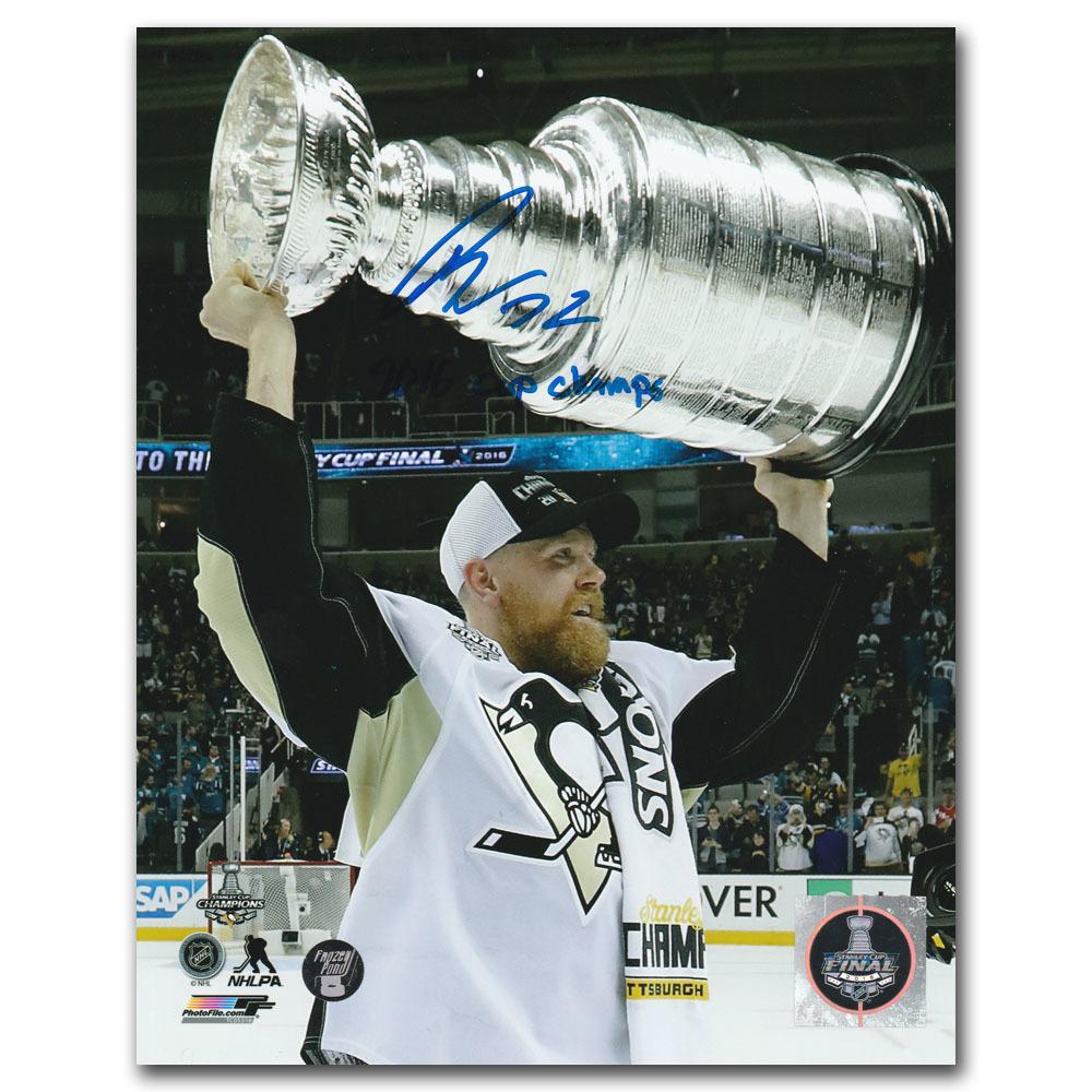 Patric Hornqvist Autographed Pittsburgh Penguins 8X10 Photo w/2016 CUP CHAMPS Inscription