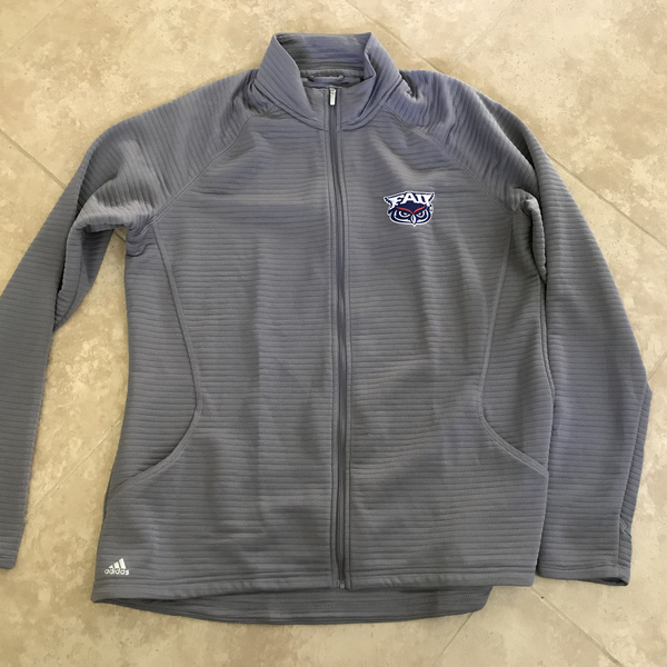 Ladies Gray Ribbed FAU Adidas Jacket (Women's XL)
