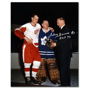 Johnny Bower Toronto Maple Leafs w/ Howe Autographed 16x20