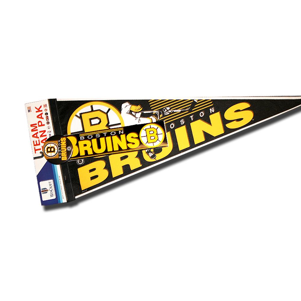 Vintage NHL Official BOSTON BRUINS Fan Pack - Pennant, Bumper Sticker & Badge - NOS