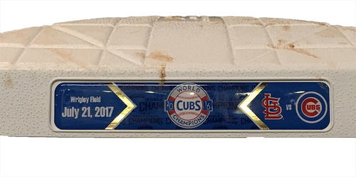 Photo of Game-Used 3rd Base -- Used in Innings 1 through 4 -- Cubs vs Cardinals -- 7/21/17