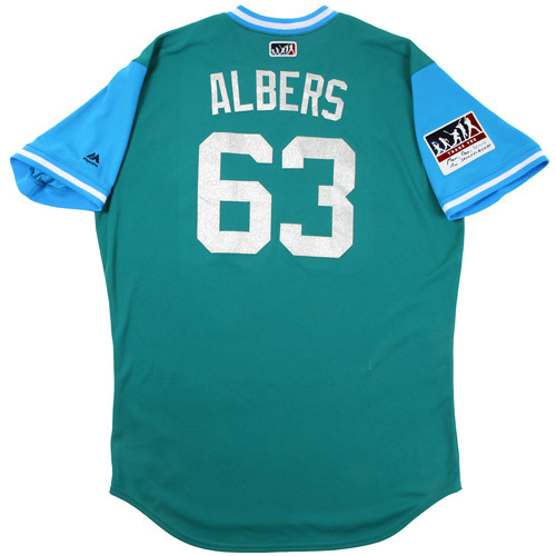 "Photo of Andrew ""Albers"" Albers Seattle Mariners Game-Used Players Weekend Jersey"
