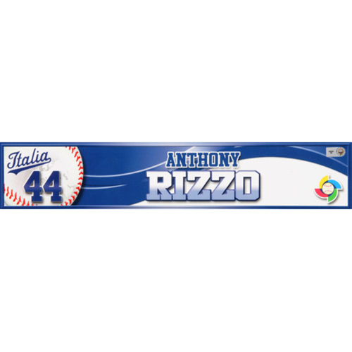 Photo of 2013 WBC: Italy Game-Used Locker Name Plate - #44 Anthony Rizzo