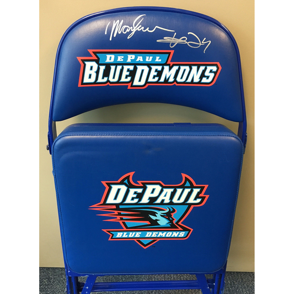 Mark Aguirre Autographed DePaul Basketball Team Bench Chair