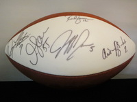NFL - RICH GANNON DOUG FLUTIE JUNIOR SEAU AARON BROOKS AND JEFF GARCIA SIGNED PANEL BALL