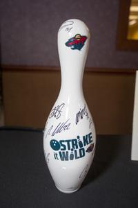 Strike It Wild  custom bowling pin signed by 2015-16 Minnesota Wild