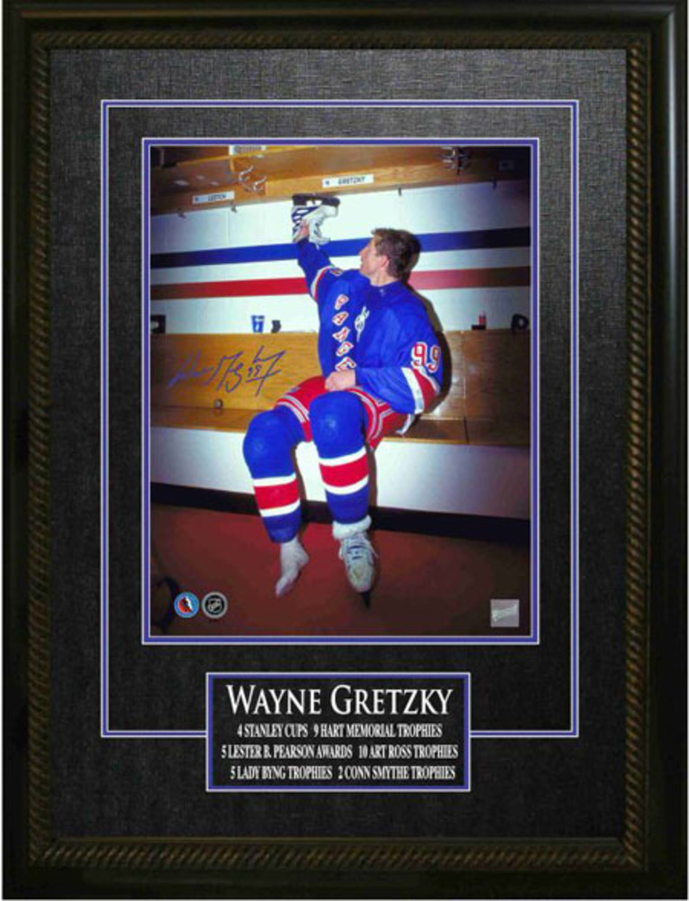 Wayne Gretzky - Signed & Framed 11x14 Etched Mat - New York Rangers - Hanging Up His Skates