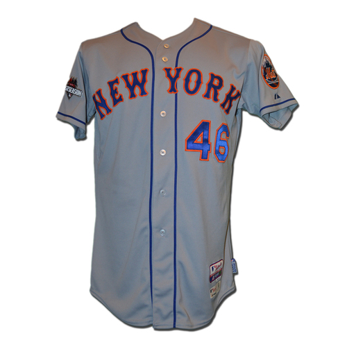 Photo of Tyler Clippard #46 - MLB Authenticated Team Issued 2015 Postseason Jersey - 2015 Postseason Patch on Right Sleeve