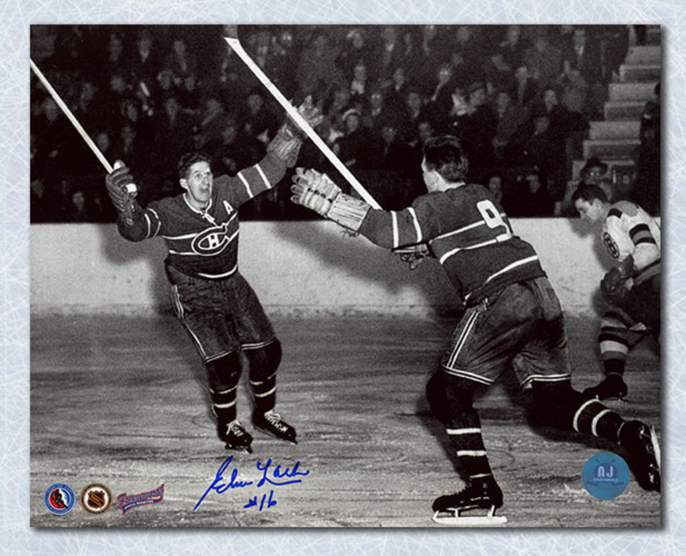 Elmer Lach Montreal Canadiens Autographed Rocket Richard Goal 8x10 Photo