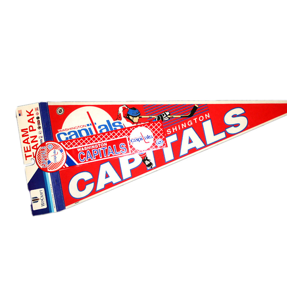 Vintage NHL Official WASHINGTON CAPITALS Fan Pack - Pennant, Bumper Sticker & Badge - NOS