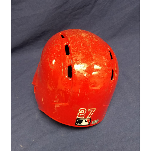 Photo of Mike Trout Game-Used Helmet - Last game of 2017