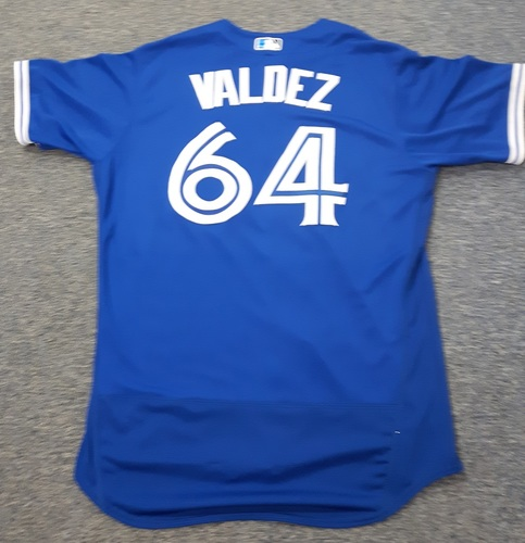 Authenticated Team Issued Jersey - #64 Cesar Valdez (2017 Season). Size 48.