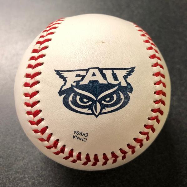 Baseball with Florida Atlantic Logo