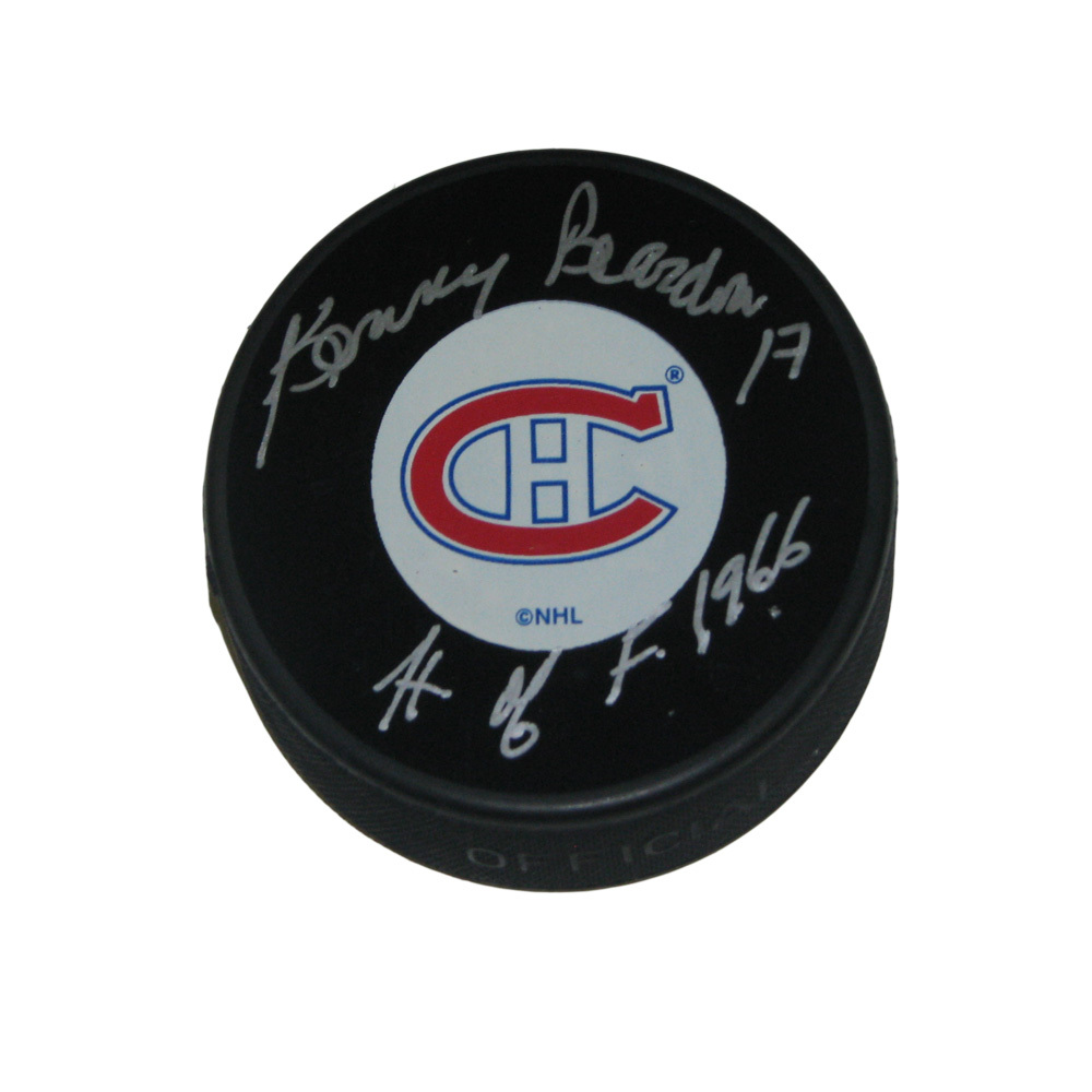 KENNY REARDON Signed Montreal Canadiens Puck with HOF 1966 inscription
