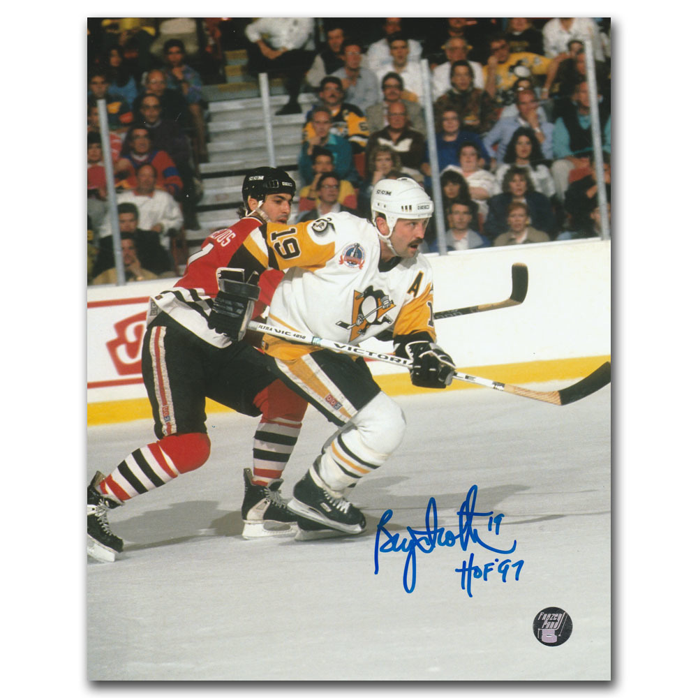 Bryan Trottier Autographed Pittsburgh Penguins 8X10 Photo w/HOF 97 Inscription