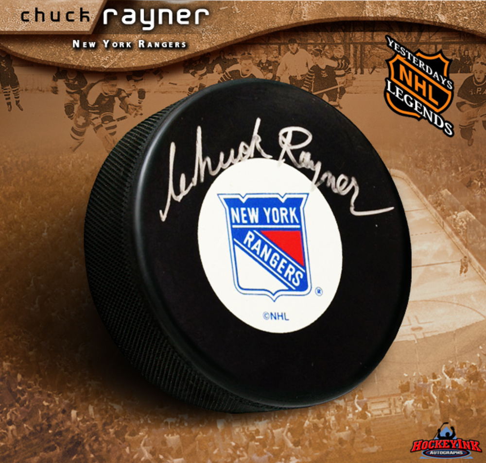 CHUCK RAYNER Signed New York Rangers Hockey Puck
