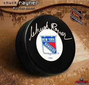 CHUCK RAYNER Signed New York Rangers Hockey Puck