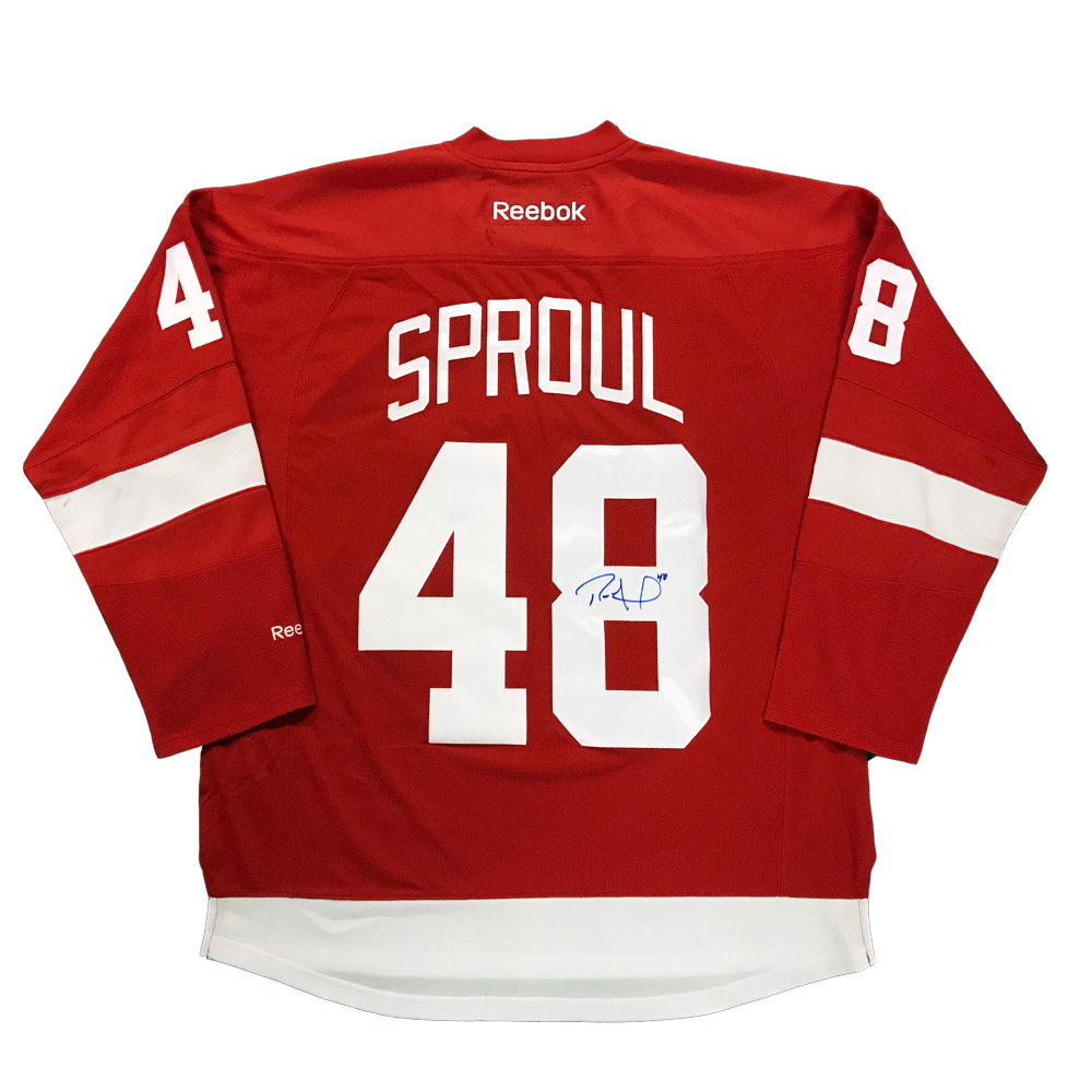 RYAN SPROUL Signed Detroit Red Wings Red Reebok Jersey