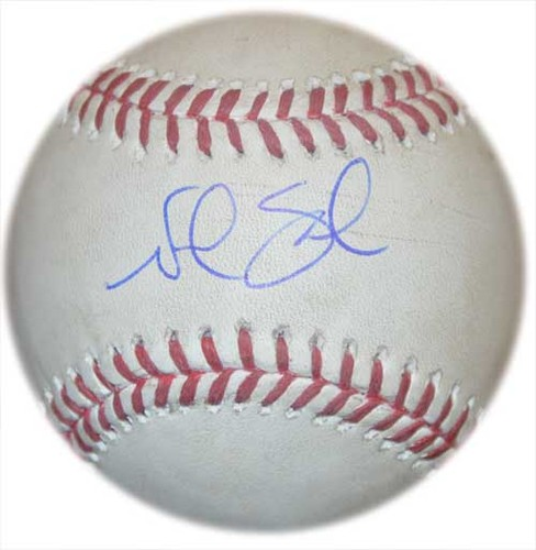 Photo of Noah Syndergaard #34 - Autographed Game Used Baseball - Noah Syndergaard to Billy Hamilton - 3rd Inning - Mets vs. Reds - 6/26/15