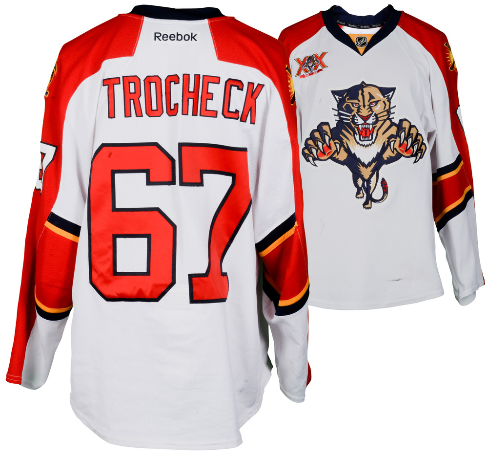 Vincent Trocheck Florida Panthers Game-Used #67 White Jersey from the 2013-14 NHL Season - Size 56