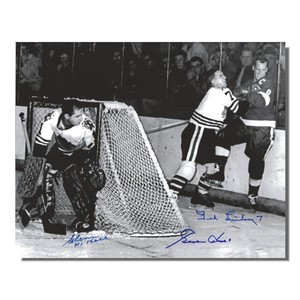 Gordie Howe, Glenn Hall and Ted Lindsay Autographed Detroit Red Wings 8x10 Photo