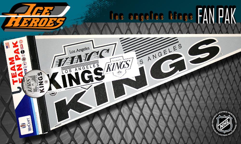 Vintage NHL Official LOS ANGELES KINGS Fan Pack - Pennant, Bumper Sticker & Badge - NOS