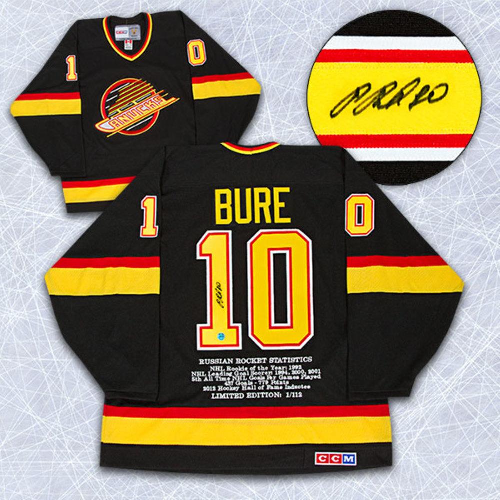 Pavel Bure Vancouver Canucks Autographed Retro CCM Stats Jersey LE #/112
