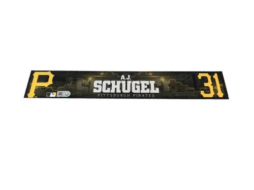 Photo of A.J. Schugel Game-Used Spring Training Locker Name plate