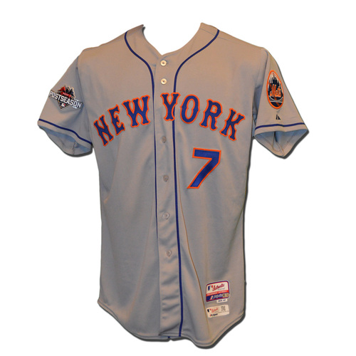 Photo of Travis d'Arnaud #7 - MLB Authenticated Team Issued 2015 Postseason Jersey - 2015 Postseason Patch on Right Sleeve