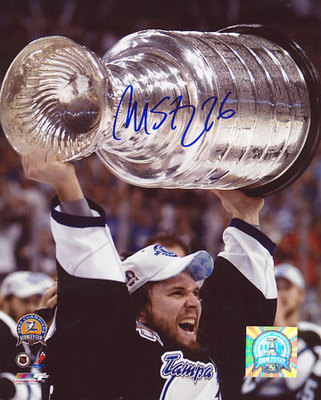 MARTIN St. Louis Tampa Bay SIGNED 16x20 2004 Cup Photo