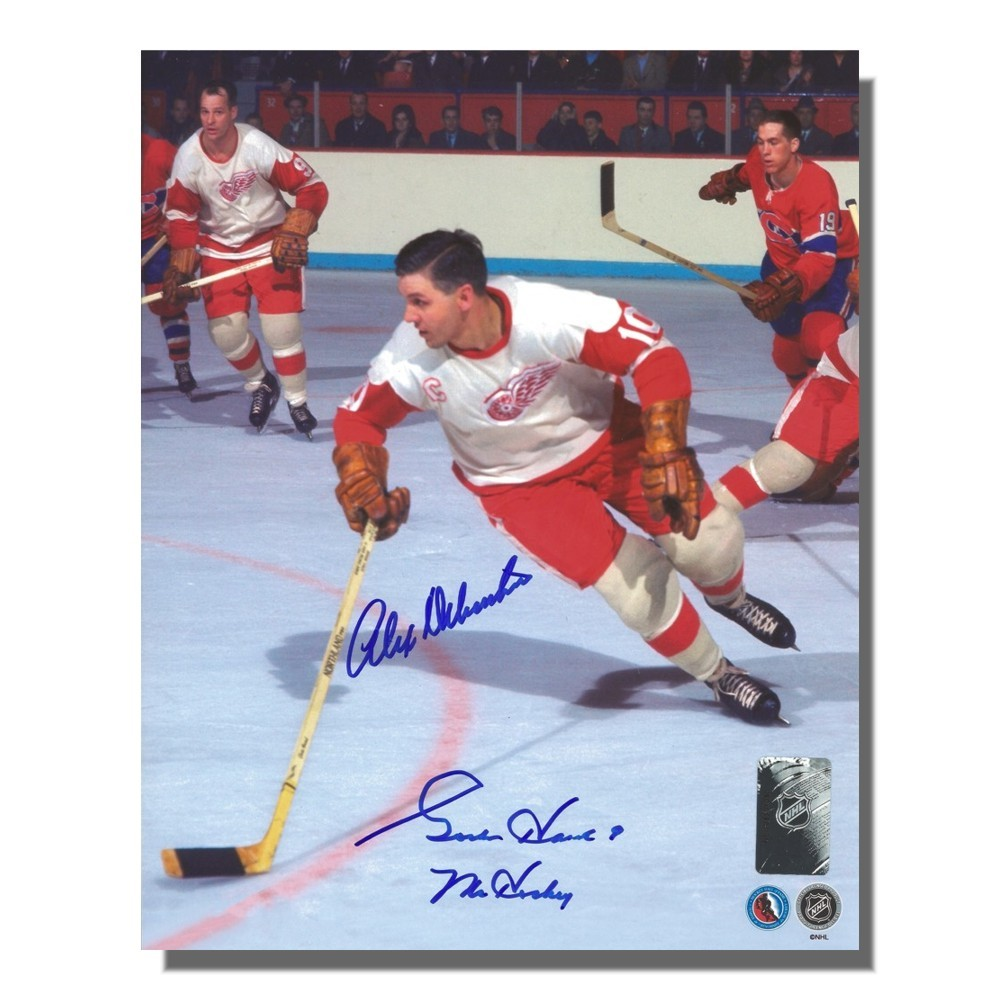 Gordie Howe and Alex Delvecchio Autographed Detroit Red Wings 8x10 Photo