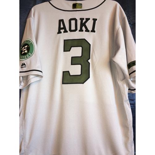 Photo of Nori Aoki Game-Used Memorial Day Camo Jersey