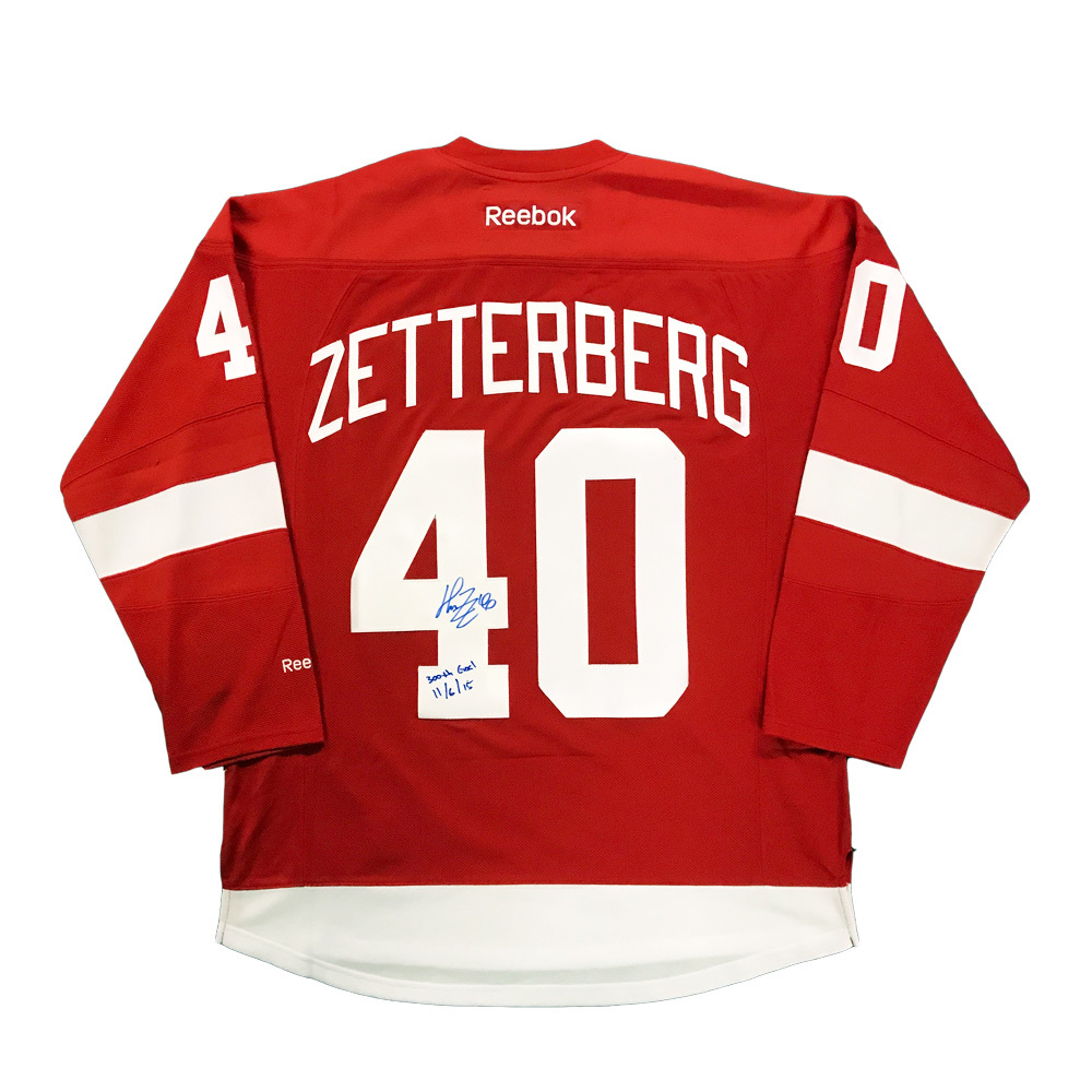 HENRIK ZETTERBERG Signed Detroit Red Wings Red Reebok Jersey with 300th Goal Inscription
