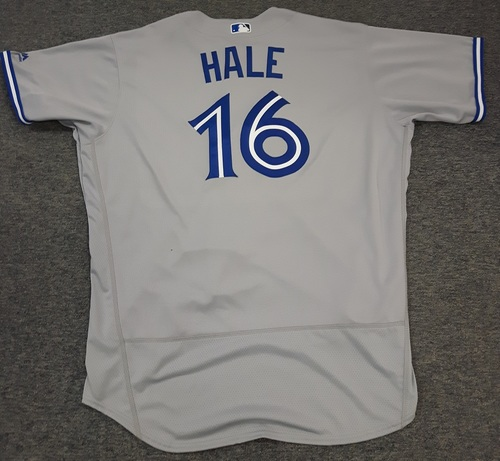 Photo of Authenticated Team Issued Jersey - #16 DeMarlo Hale (2017 Season). Size 54.