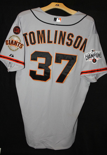Photo of San Francisco Giants Kelby Tomlinson Game-Used Road Jersey - September 26th, 2015 vs. the Oakland Athletics