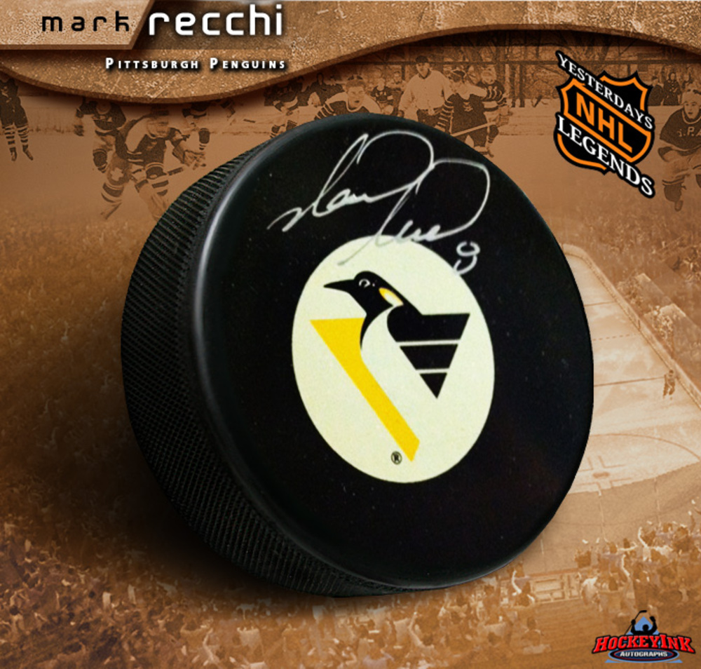 MARK RECCHI Signed Pittsburgh Penguins Puck