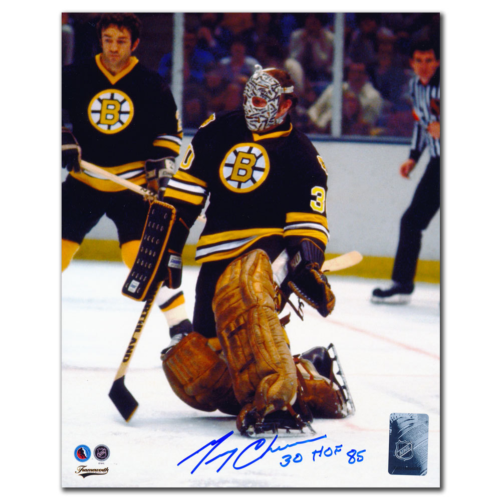 Gerry Cheevers Boston Bruins BIG SAVE Autographed 8x10