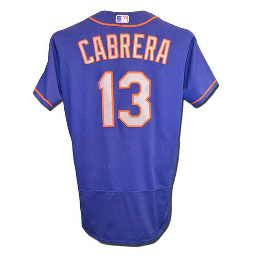 Photo of Asdrubal Cabrera #13 - Game Used Blue Alternate Road Jersey - Cabrera Goes 1-4, RBI - Mets vs. Padres - 7/25/17